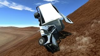BeamNG DRIVE Alpha - Driving Down from a Mountain Without Brakes
