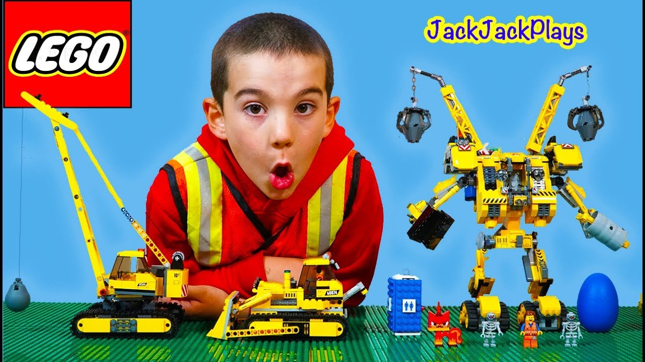 Jackjackplays Construction With Lego Movie Construct O Mech And Trucks Youtube