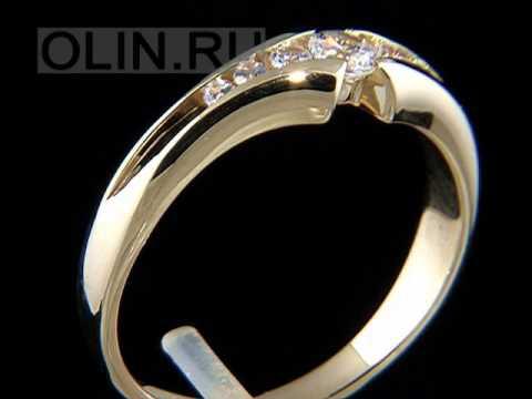 Золотое кольцо с фианитами в виде дорожки