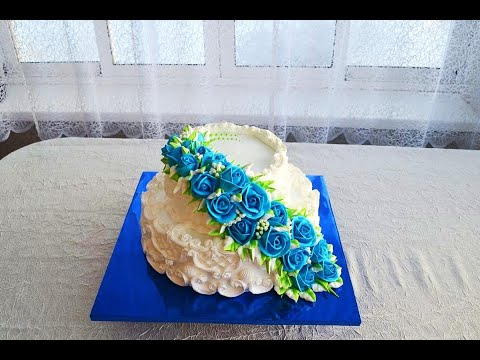 Свадебный торт  Часть вторая  Украшение торта каскадом из роз
