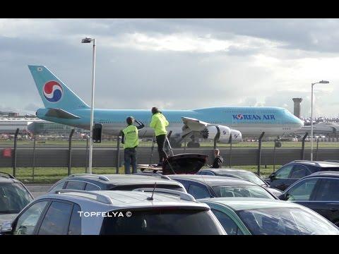 Korean Air Queen Boeing 747-8i intercontinental first landing at Heathrow airport