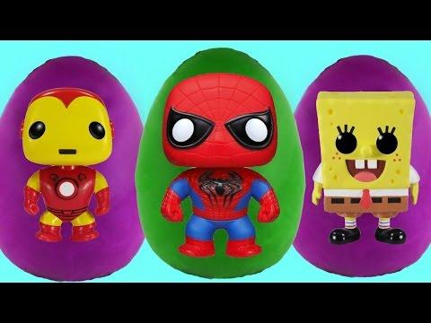 SUPERHEROES Surprise Egg Videos ★ Play Doh Spongebob Spider-Man Marvel Avengers 2015 Toys