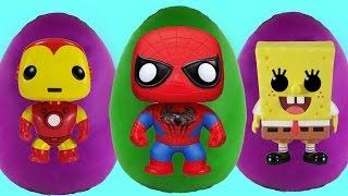 superheroes surprise egg videos play doh spongebob spider man marvel avengers 2015 toys