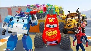Phim Hoạt Hình Siêu Nhân Người Nhện chơi ô tô đồ chơi Disney - Dạy bé học màu sắc và con vật