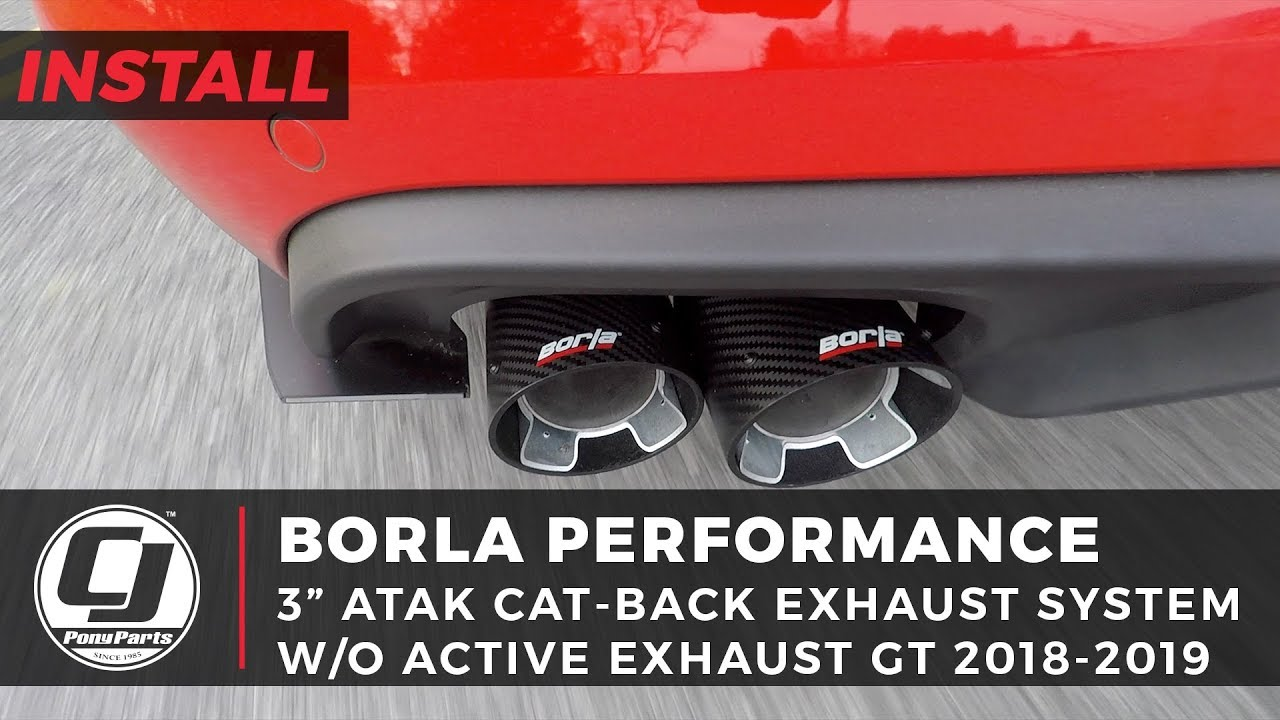 2018 2021 mustang gt install borla 3 atak cat back exhaust system with 4 carbon fiber tips