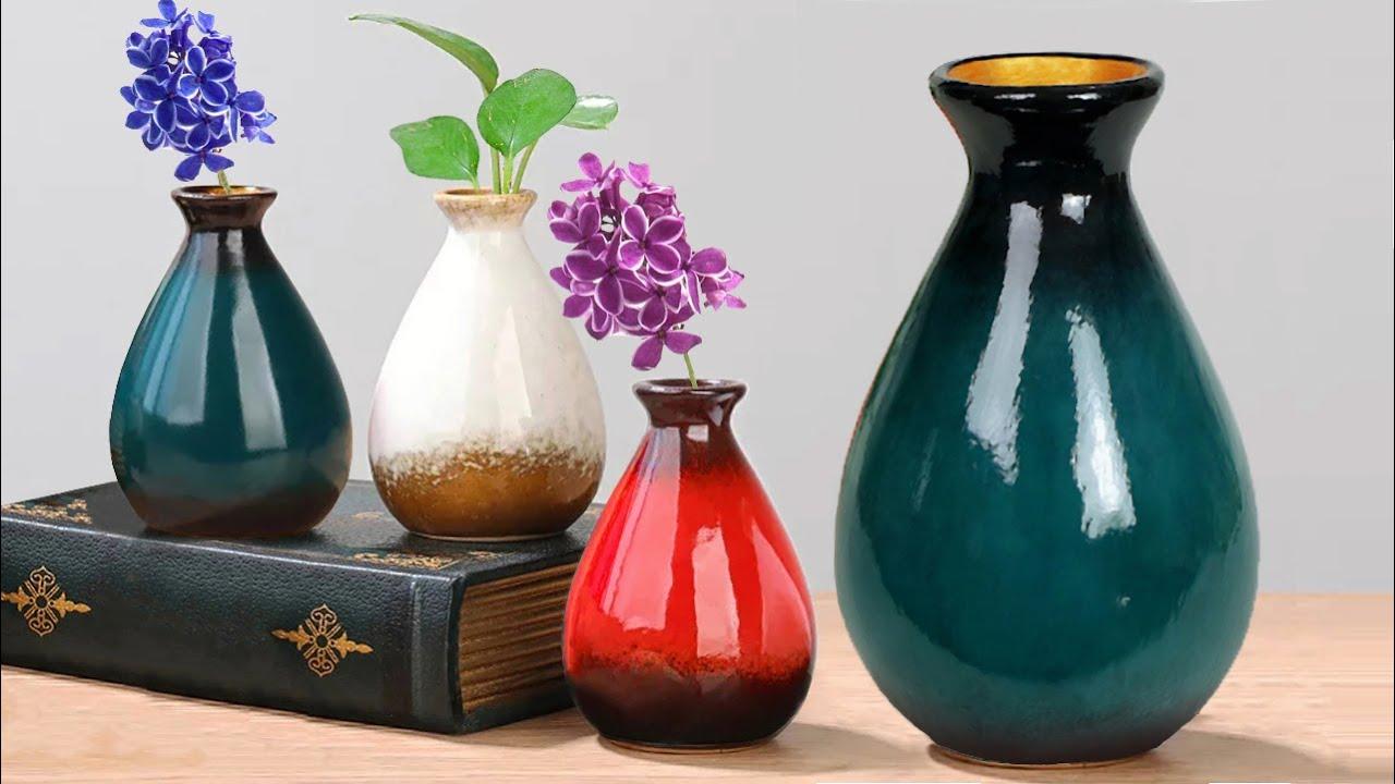 Easy Flower Vase making || Pottery making with plastic bottle - প্লাস্টিকের বোতল দিয়ে ফুলদানি তৈরি