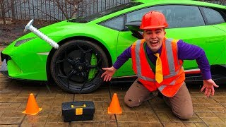 Mr. Joe PIERCED Wheel on Car Lamborghini Huracan & Car without Wheels in Tire Service for Kids