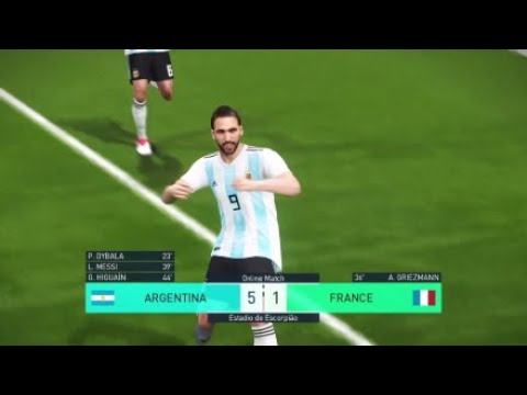 Messi  - Higuain goal \ Argentina vs France (PES 2018 PS4 online gameplay HD)