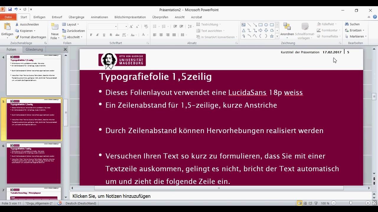 Herunterladen und Nutzen der PowerPoint-Vorlage der OVGU Magdeburg ...