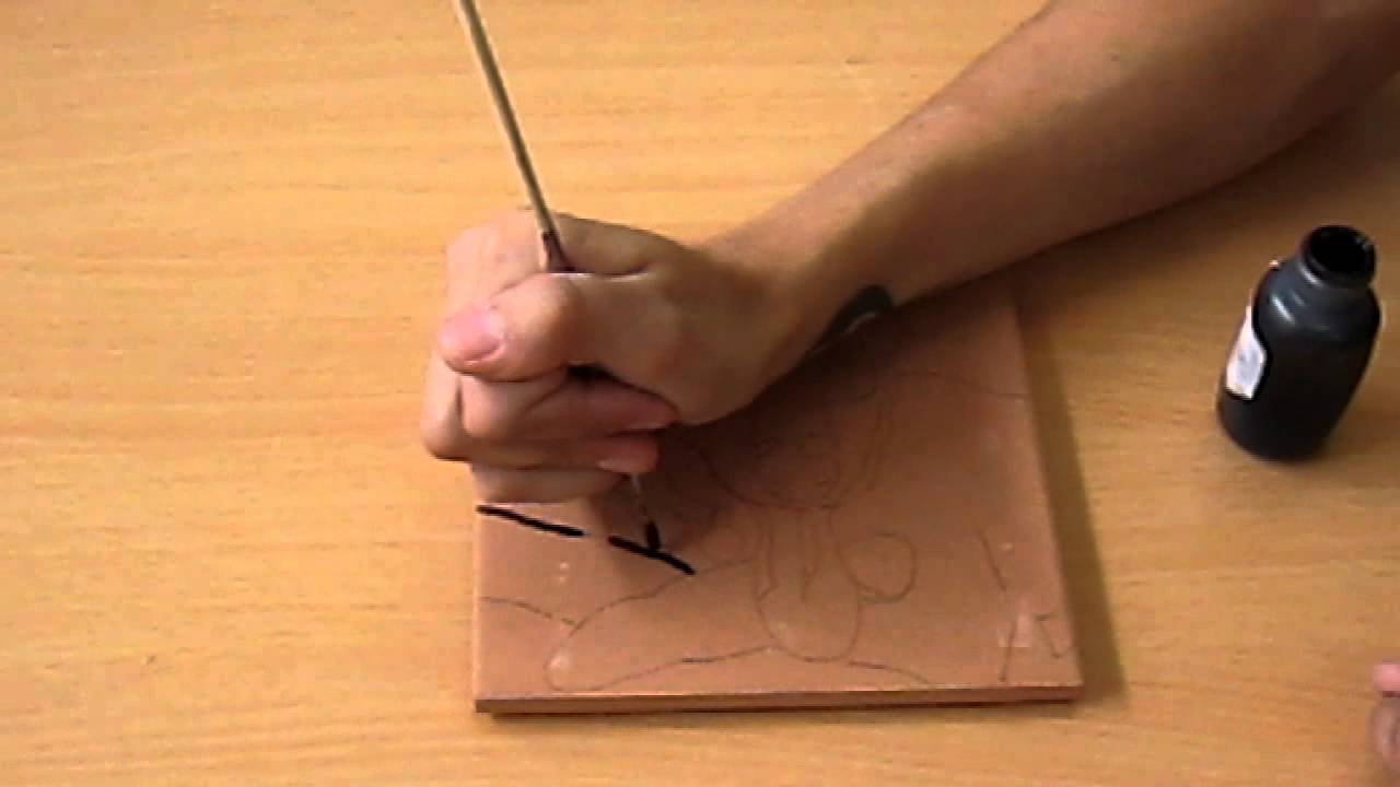 How to paint a ceramic tile youtube how to paint a ceramic tile dailygadgetfo Image collections