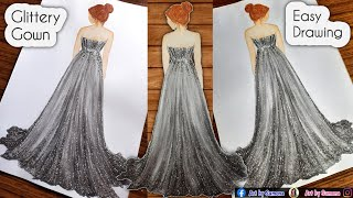 How to draw Sparkle Gown    Beautiful Girl Drawing with Glittery Dress    Fashion Dress   