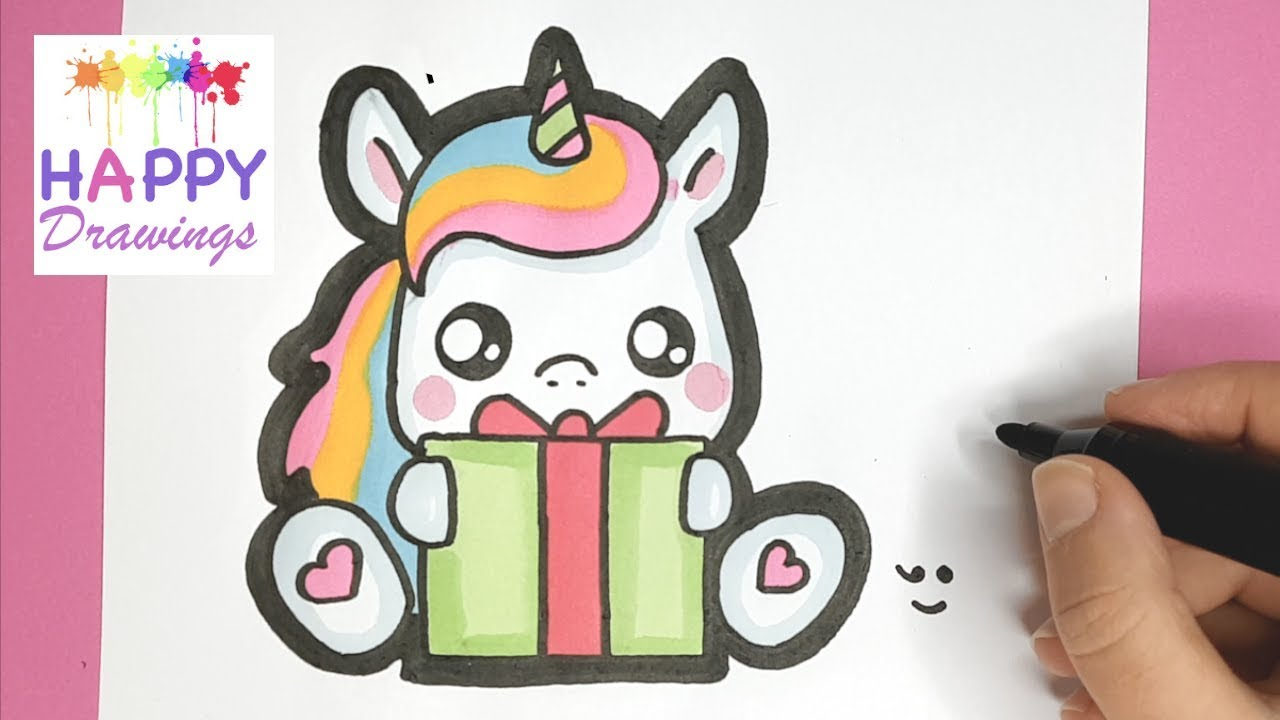 How to Draw and Color a Baby Unicorn holding a Christmas ...