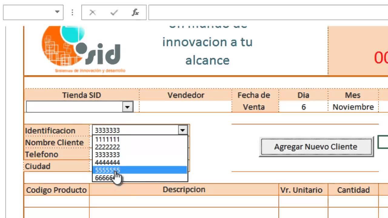 tutorial vincular factura de excel con el formulario ingreso cliente