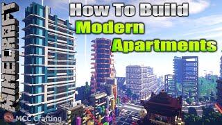 Minecraft How To Build Modern Futuristic Apartments Condo Flats Tower Skyscraper Time Lapse