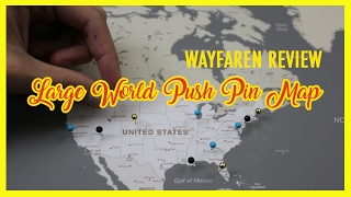 Large World Push Pin Map with Classic Frame from Wayfaren Review