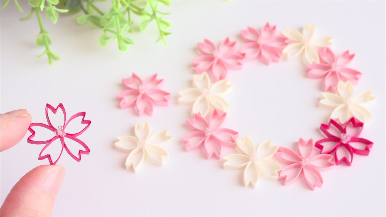 紙で作る可愛い桜の花の作り方 - DIY How to Make Paper Cherry  Blossom