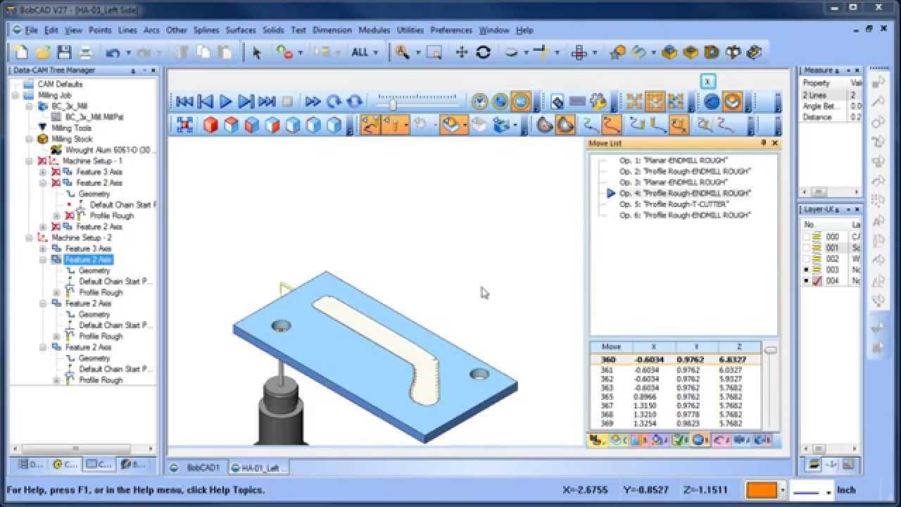 2D 3D CAD CAM Tutorial BobCAD CAM V27 Mill Standard Part 2