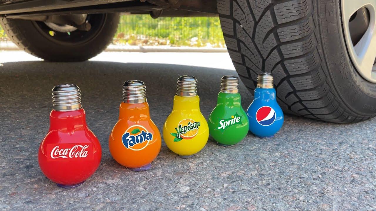 Experiment Car vs Coca Cola, Different Fanta, Mtn Dew, Pepsi, Sprite and Mentos In Underground Hole