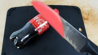 EXPERIMENT Glowing 1000 degree KNIFE VS COCA COLA