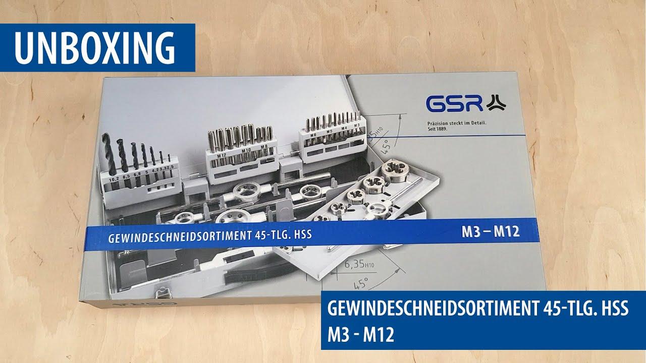 M3-M12 mit Spiralbohrer HSSG GSR Gewindeschneider Satz 45 tlg