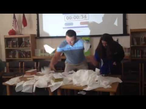 McLeansville Elementary School Staff Minute-to-win-it Tissue Challenge