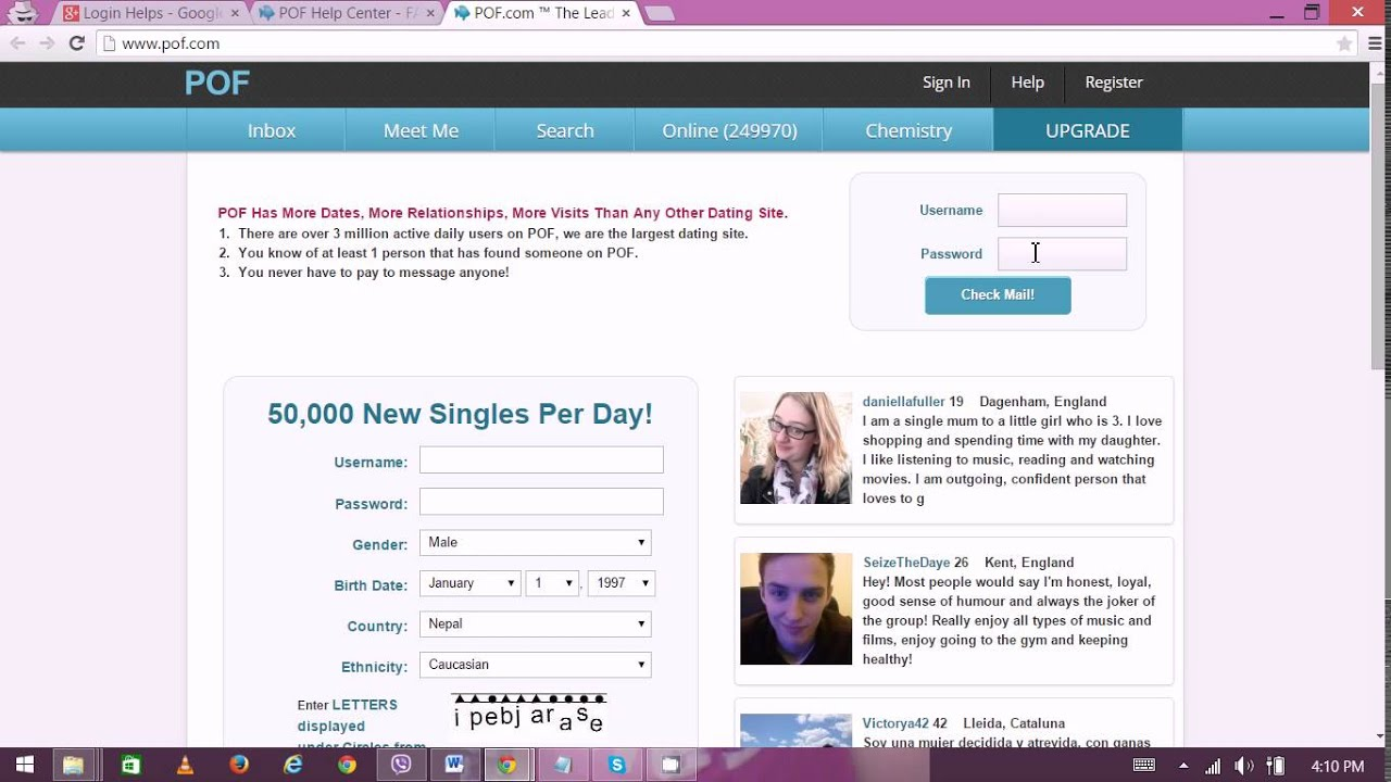 How to write captcha for pof dating site