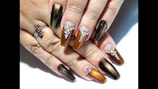 Красивый и простой осенний дизайн ногтей. ТОП удивительные дизайны ногтей Кошачий глаз