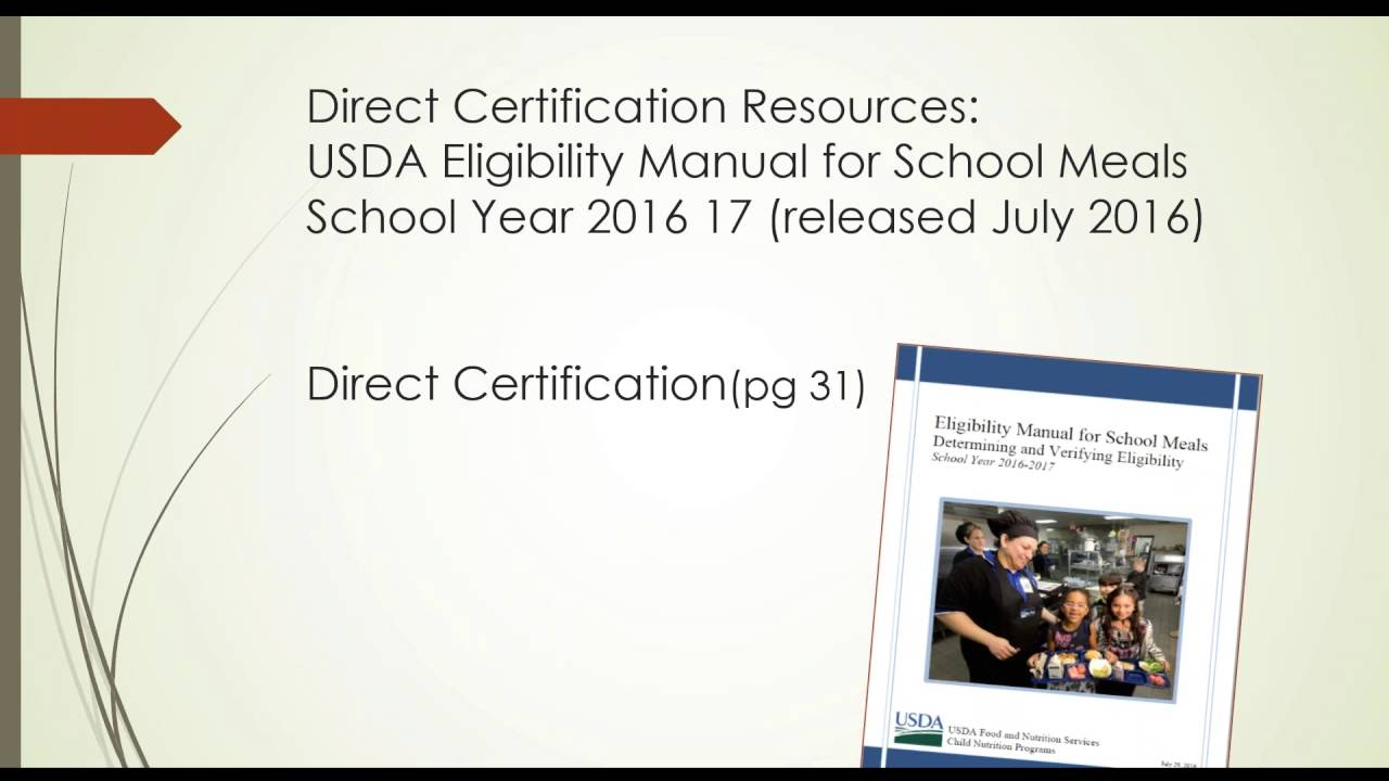 Direct Certification And Cep August 2016 Youtube