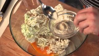 Котлетки из камбалы с соусом из грибов и кабачков