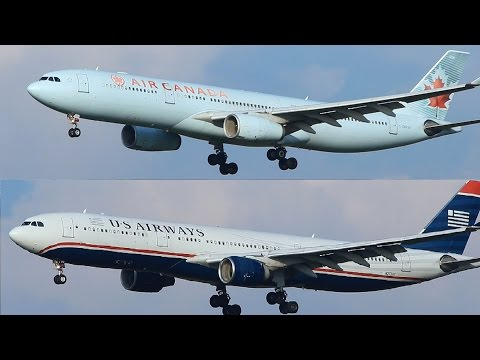 Air Canada, US Airways A330-300 Landing At Rome FCO
