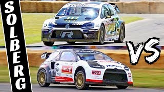 Petter Solberg VS Oliver Solberg - Father & Son Shootout Fight - Polo R & DS3 WRX at Goodwood 2019