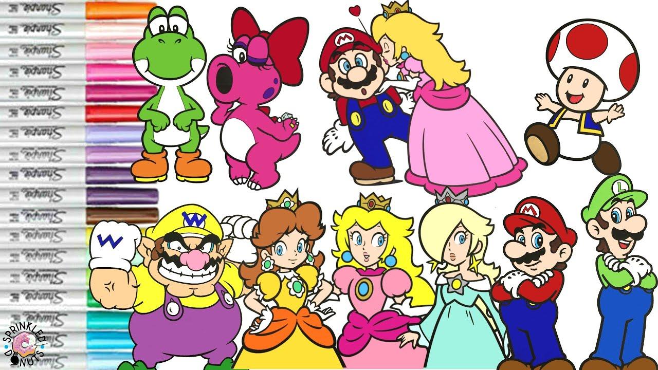 Super Mario Bros Coloring Book Pages Nintendo Mario Luigi Princess Peach  Toad Yoshi Wario Birdo