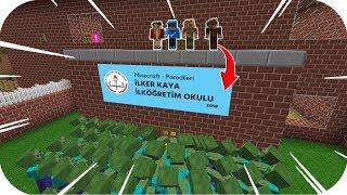 OKULA ZOMBİLER SALDIRIYOR! 😱 - Minecraft