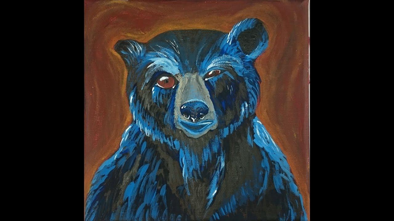 Blue Bear Acrylic Painting