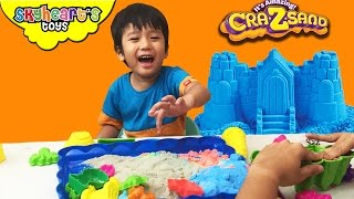 We mixed our Cra-Z-Sand! It's similar to Kinetic Sand Toys for Kids, mold a castle, animals
