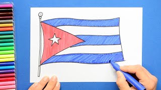 How to draw and color the National flag of Cuba
