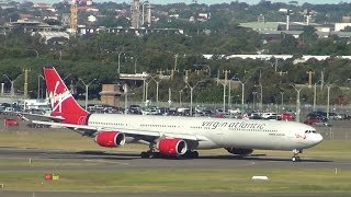 heavy aircrafts 8x b747s a340 600 b777 a330s takeoffs landings compilation sydney airport