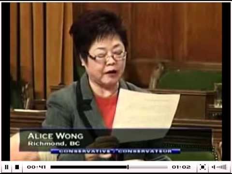 Alice Wong MP Speaking Chinese in the Parliament of Canada
