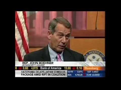 "Boehner on Bloomberg: Dems' TARP Slush Fund ""The Worst Idea I've Ever Heard"""
