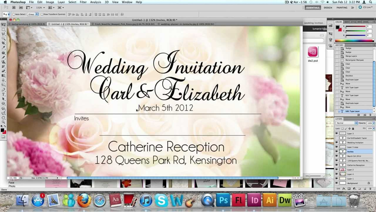How to make a Wedding Invitation Card usng Photoshop - YouTube