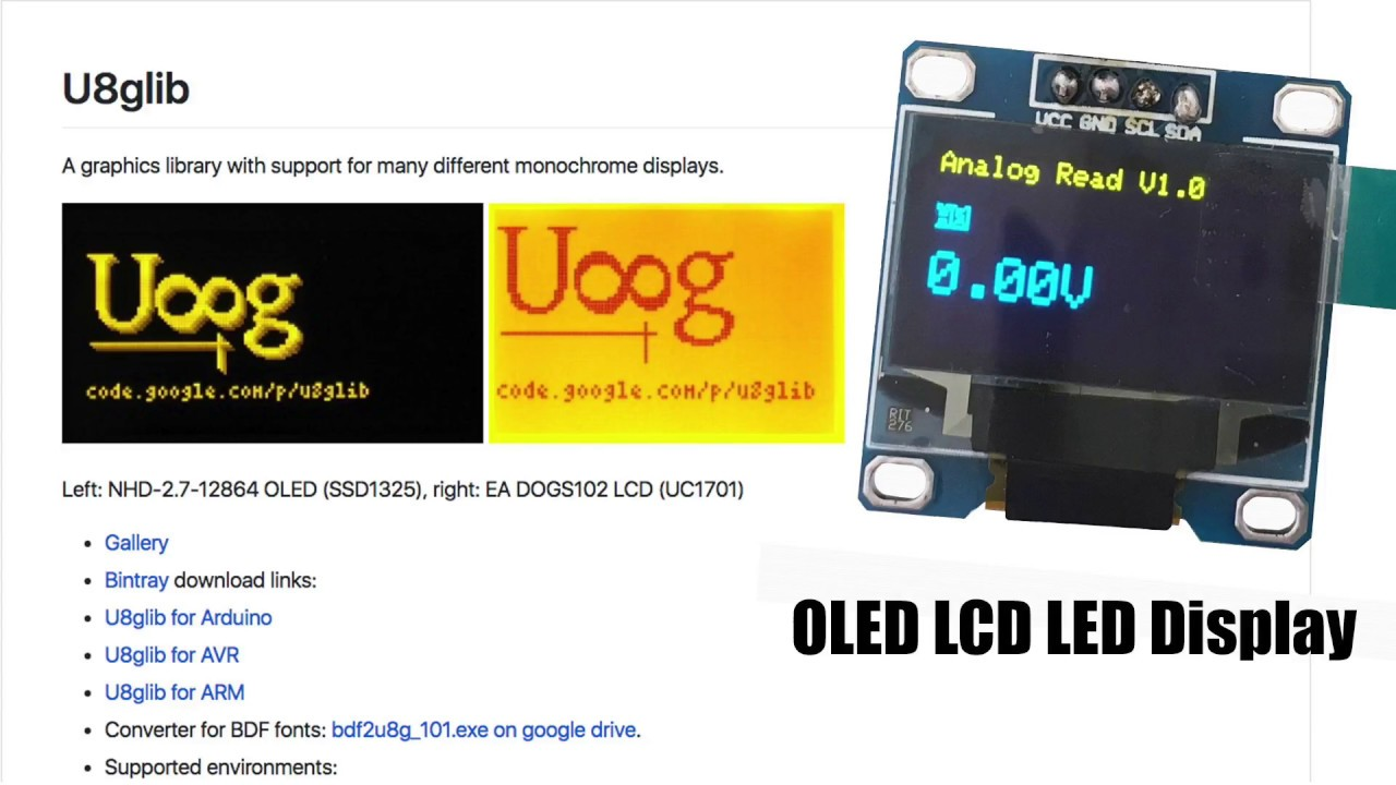 OLED i2c Display + U8glib library : Arduino Tutorial