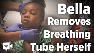 6-year-old takes first breath after removing tube