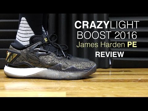 new style f3927 fea64 ADIDAS CRAZYLIGHT BOOST 2016 GOLD JAMES HARDEN PE - YouTube