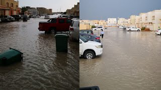 Heavy rain in Qatar   heavy ice rain   water flood