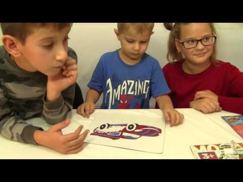 Раскраска, фиксик Нолик раскрашивает картинку с изображением Молнии Маквина и Мэтр, видео для детей