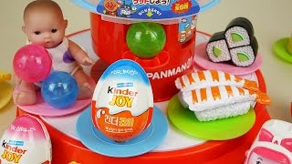 Baby Doll and Sushi dish Kinder Joy Surprise eggs toys play