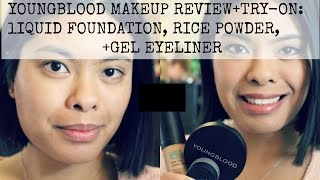 Youngblood Makeup Review+Try-On: Liquid Foundation, Rice Powder, Gel Eyeliner