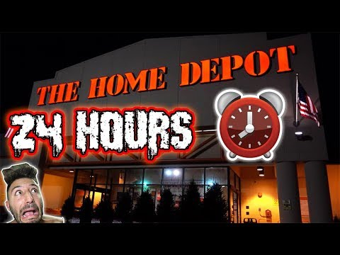 24 HOUR OVERNIGHT CHALLENGE AT HOME DEPOT GIANT BOX FORT | H