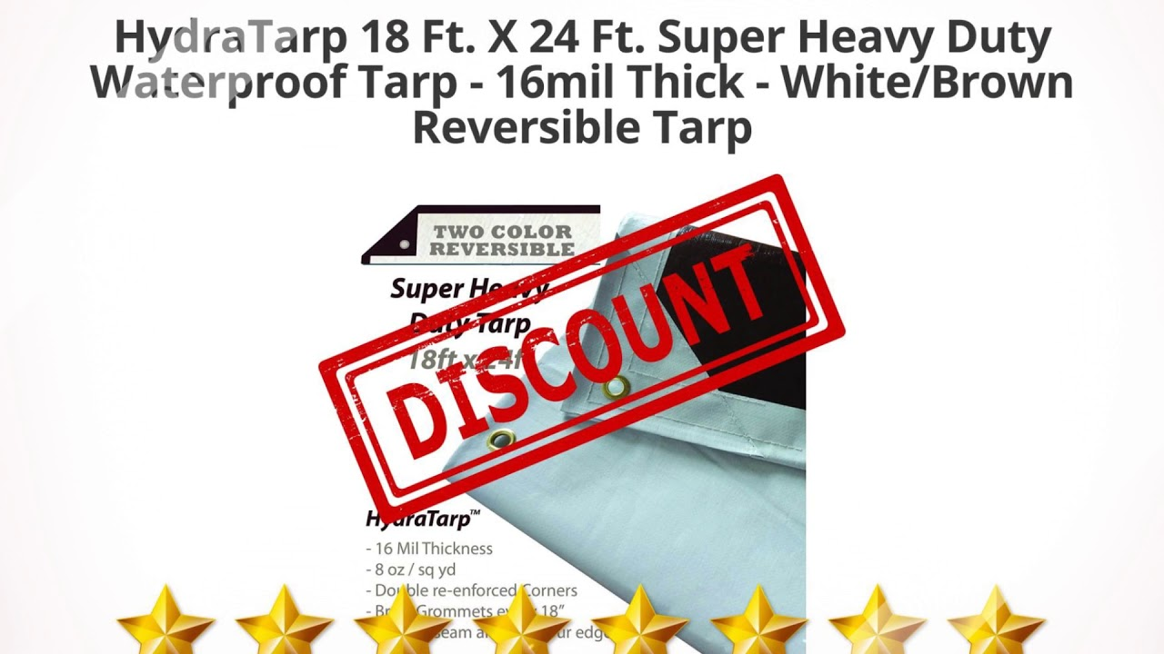 White//Brown Reversible Tarp with D-Rings 18mil Thick Premiumr Heavy Duty Waterproof Tarp X 24 Ft HydraTarp 12 Ft
