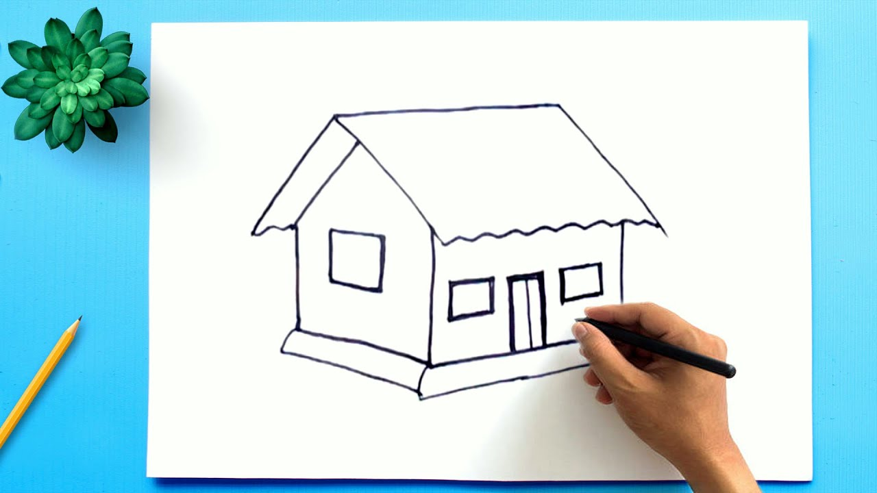Simple House Drawing How To Draw A House Step By Step Easy Youtube